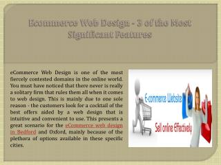 Ecommerce Web Design - 3 of the Most Significant Features