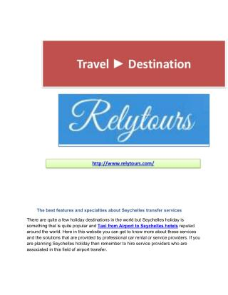 Taxi from Airport to Seychelles hotels