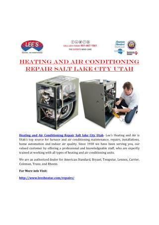 Heating and Air Conditioning Repair Salt lake City Utah