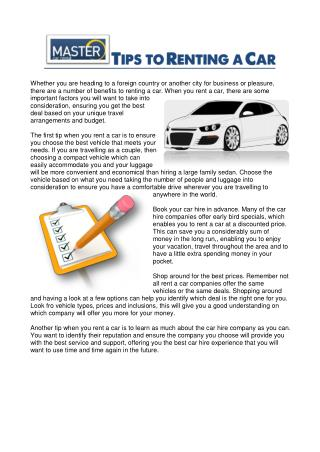 TIPS TO RENTING A CAR
