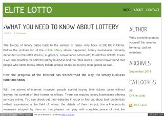 ?WHAT YOU NEED TO KNOW ABOUT LOTTERY