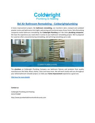 Bel Air Bathroom Remodeling - Coldwrightplumbing