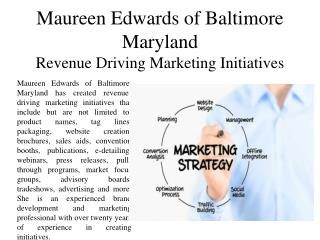 Maureen Edwards of Baltimore Maryland Revenue Driving Marketing Initiatives