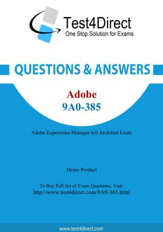 Adobe 9A0-385 ACE Real Exam Questions