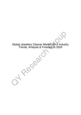 Global Jewellery Cleaner Market 2015 Industry Trends, Analysis & Forecast to 2020