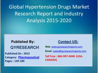 Global Hypertension Drugs Market 2015 Industry Analysis, Research, Trends, Growth and Forecasts