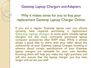 Gateway Laptop Chargers and Adapters