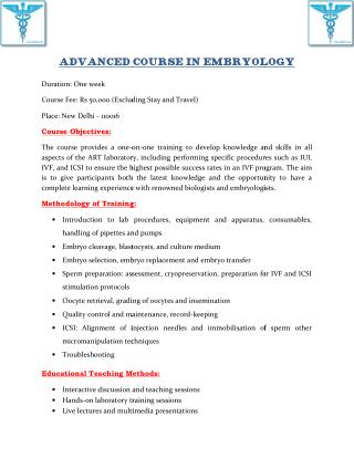 Advanced Course in Embryology With IIRFT