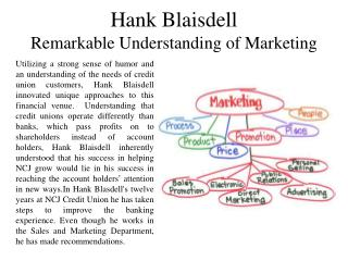 Hank Blaisdell Remarkable Understanding of Marketing