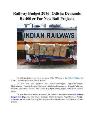 Railway Budget 2016: Odisha Demands Rs 400 cr For New Rail Projects