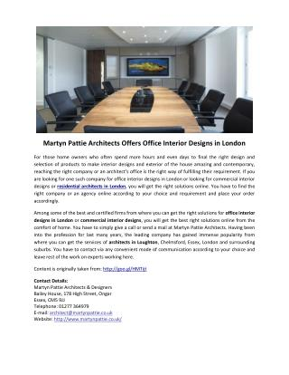 Martyn Pattie Architects Offers Office Interior Designs in London