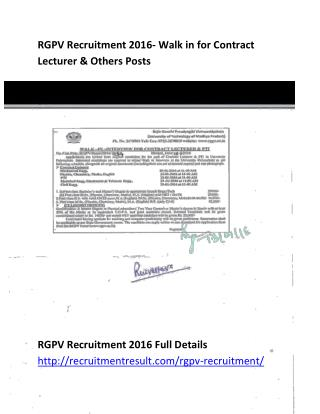 RGPV Recruitment 2016- Walk in for Contract Lecturer & Others Posts