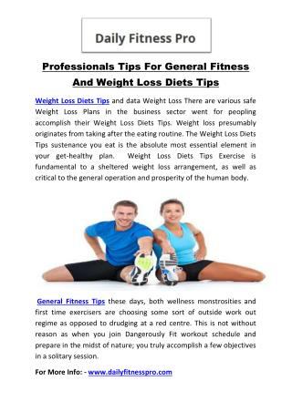 Professionals Tips For General Fitness And Weight Loss Diets Tips