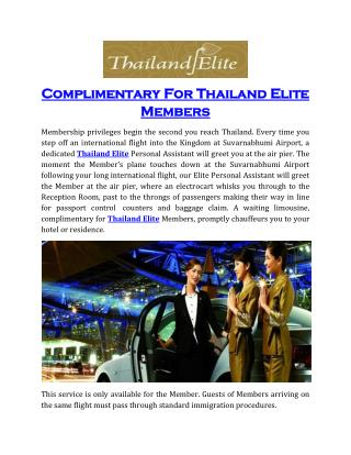 Complimentary For Thailand Elite Members