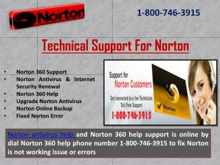 Norton technical support @ 1-800-746-3915 Phone Number