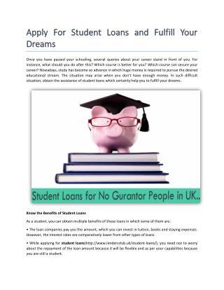 Get Guaranteed Student Loans in UK