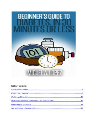 Diabetes Ebook: Beginner's Guide To Diabetes In 30 Minutes Or Less