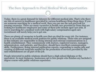 The Sure Approach to Find Medical Work opportunities