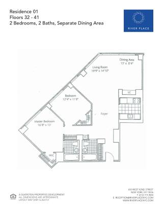 2 Bedroom NYC Apartment - Residence 01 Floor 32-41