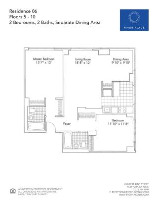 2 Bedroom NYC Apartment - Residence 06 Floor 05-10