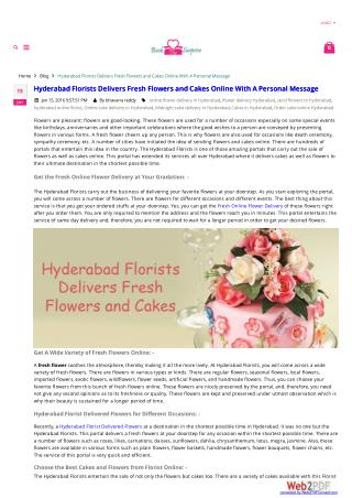 Hyderabad Florists Delivers Fresh Flowers and Cakes Online