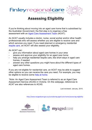 Aged care Assessing Eligibility
