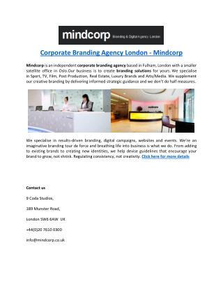 Corporate Branding Agency London - Mindcorp