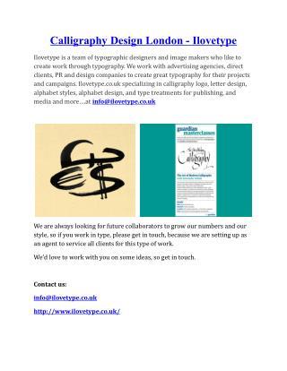 Calligraphy Design London - Ilovetype