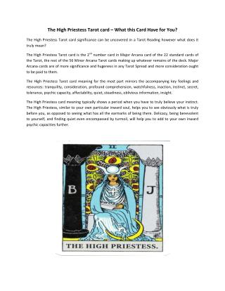 Know about The High Priestess, Tarot Card Reading Courses