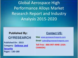 Global Aerospace High Performance Alloys Market 2015 Industry Shares, Insights,Applications, Development, Growth, Overvi