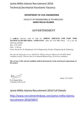 Jamia Millia Islamia Recruitment 2016-Technical,Secretarial Assistants Vacancy