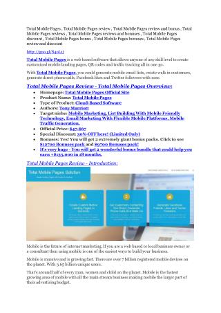 Total Mobile Pages review & SECRETS bonus of Total Mobile Pages