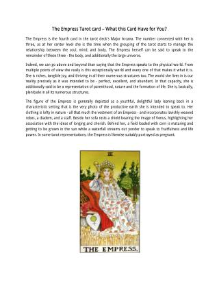 Know about The Empress, Tarot Card Reading Courses