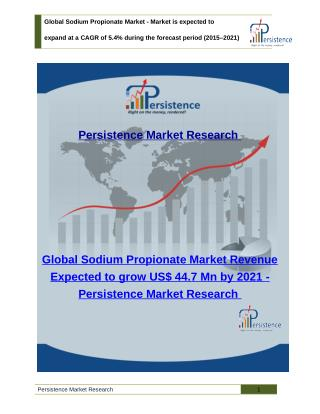 Global Sodium Propionate Market - Share, Size, Trends Analysis to 2021