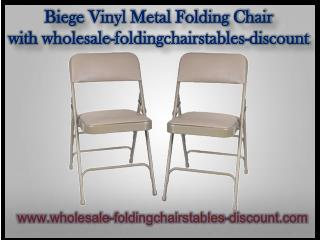 Biege Vinyl Metal Folding Chair with wholesale-foldingchairstables-discount