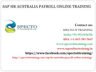 Sap hr australia payroll online training in australia