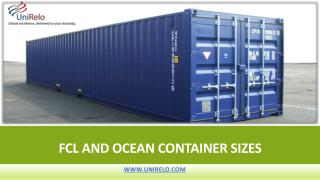 FCL AND OCEAN Container SIZES