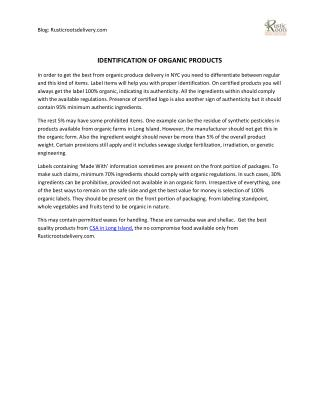 Identification Of Organic Products