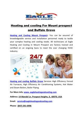 Heating and cooling For Mount prospect and Buffalo Grove
