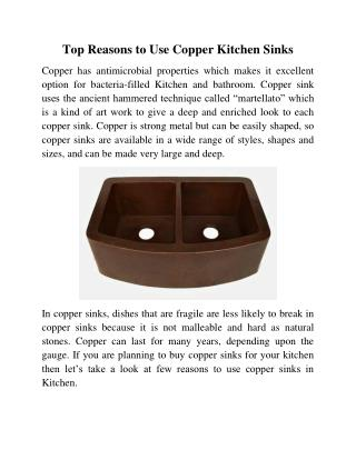 Top Reasons to Use Copper Kitchen Sinks