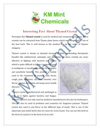 Thymol crystal Manufacturers Suppliers India