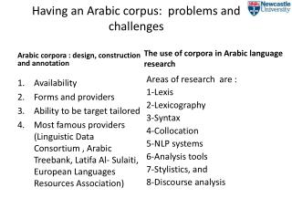 Having an Arabic corpus:  problems and challenges
