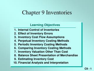 Chapter 9 Inventories
