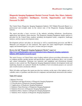 Diagnostic Imaging Equipment Market Trends Analysis And Forecasts To 2015