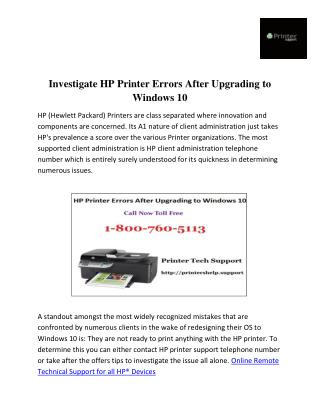 Investigate HP Printer Errors After Upgrading to Windows 10