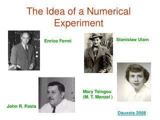 The Idea of a Numerical Experiment
