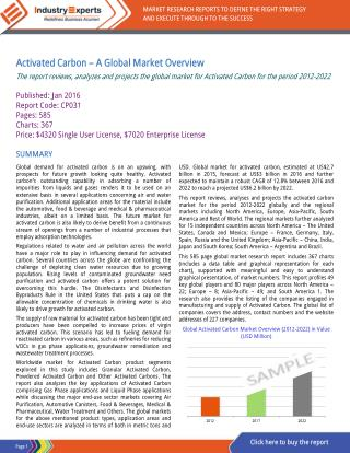 Activated Carbon Market Growth to Touch $6.2 billion by 2022