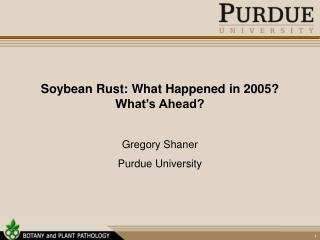 Soybean Rust: What Happened in 2005? What's Ahead?