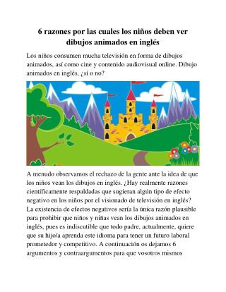 6 razones por las cuales los niños deben ver dibujos animados en inglés