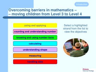 Overcoming barriers in mathematics – – moving children from Level 3 to Level 4